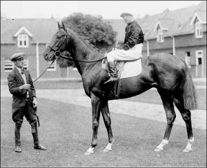 Hyperion at Stanley House with his jockey Tommy Weston up and his lad Tom Theobald